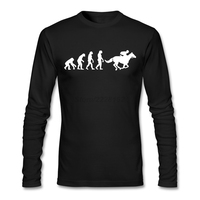 Print T Shirt For Men Personal Man Tees Horse Riding Evolution 100 Cotton Vector Grafic Shirts