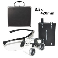 Nueva 3.5X420mm Silver Dentista Binocular Quirúrgica Dental Medical Lupas Optical Glass Lupa Portable Light + Caja De Aluminio 5 Colores