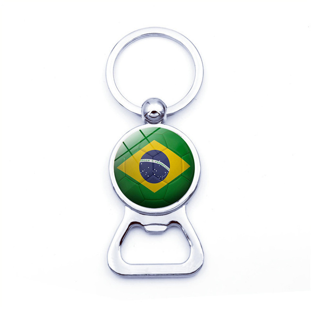 Men's Car Keychain Jewelry with Glass Cabochon National Flag Bottle Opener Germany Denmark Russia Keychain for Football Fans
