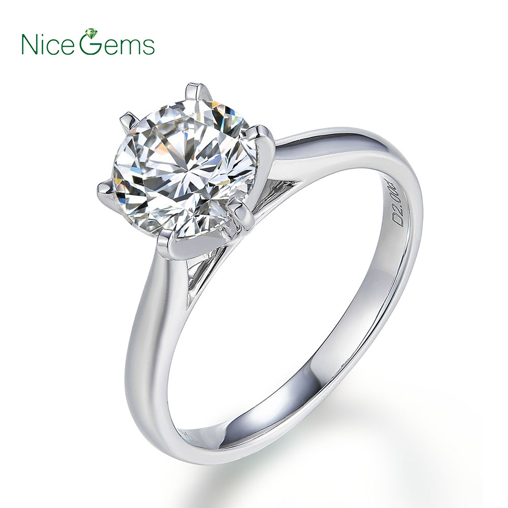 NiceGems 14K Wit Classic 6 Prong Moissanite Engagement Ring voor Vrouwen Center Stone 1ct of 2ct Moissanite Solid Gold ring-in Ringen van Sieraden & accessoires op  Groep 1