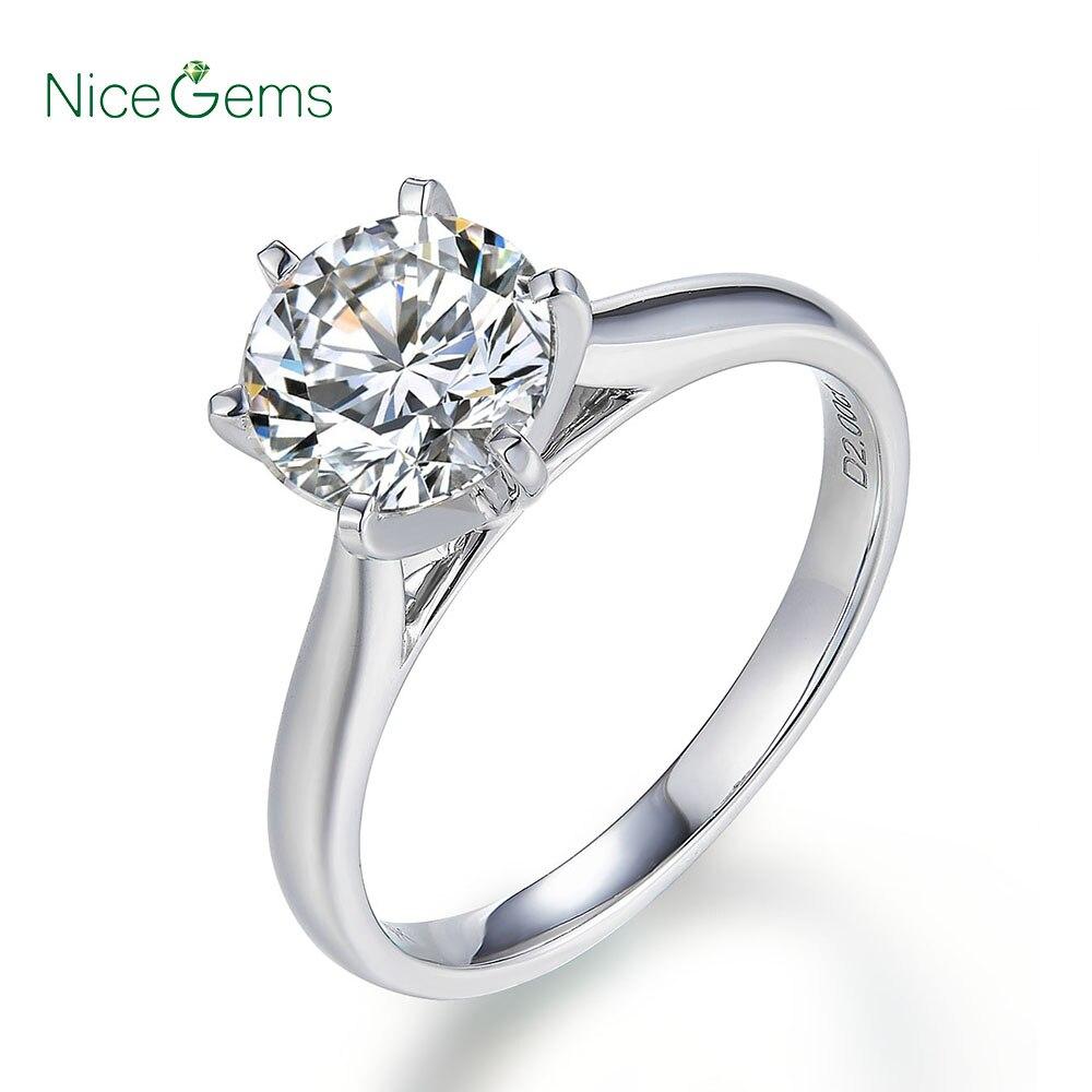 Nicegems 14 k 화이트 클래식 6 프롱 moissanite 약혼 반지 센터 스톤 1ct 또는 2ct moissanite 솔리드 골드 반지-에서반지부터 쥬얼리 및 액세서리 의  그룹 1