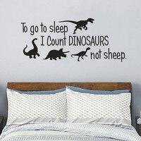 Dinosaur Vinilos Decoración Del dormitorio, ir a dormir Cuento Dinosaurios no ovejas, Arte de La Pared Etiqueta de La Pared Niños para Bebés y Niños Habitaciones Decoración
