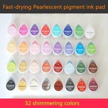 (10 Stks/partij) Parelmoer Pigment Inkt Pad Sparklet Effect Water Drop Glitter Stempelkussen