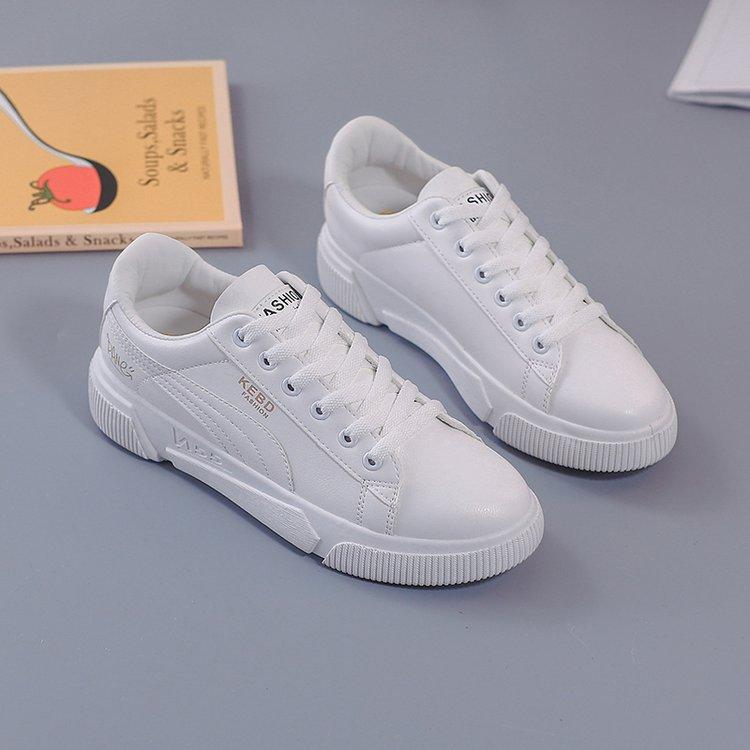 Pu De Beige blanco Cuero La Nueva Sólido Casual Deporte blanco Mujer Encaje Color Primavera Zapatos 2019 Zapatillas xwCqBZZ5