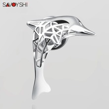Fashion Lapel Pins Woman animal brooch Hollow Silver Metal dolphin Model brooches pins for Suit Sweater Mens coat DIY Jewelry
