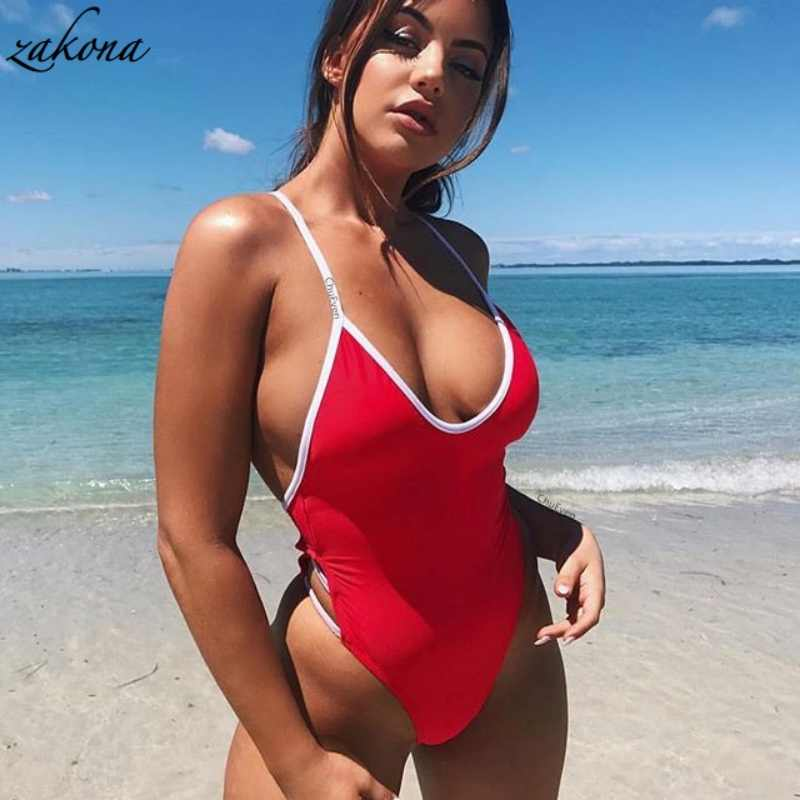 cb60a9b7d38ec Bandage Sexy Women One Piece Swimsuit Bodysuit Monokini Swimwear Female Cut  Out Bather Beachwear Bathing Suit