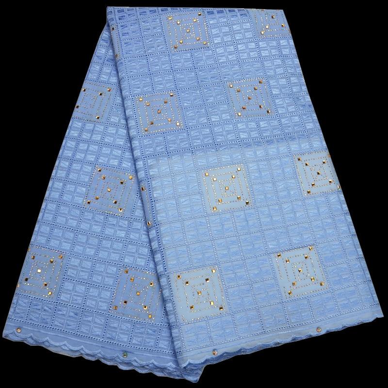 (5 yards/pc) strass fixe Suisse voile tissu en dentelle bleu ciel dentelle de coton Africain avec checker broderie pour tenue de fête CLP108