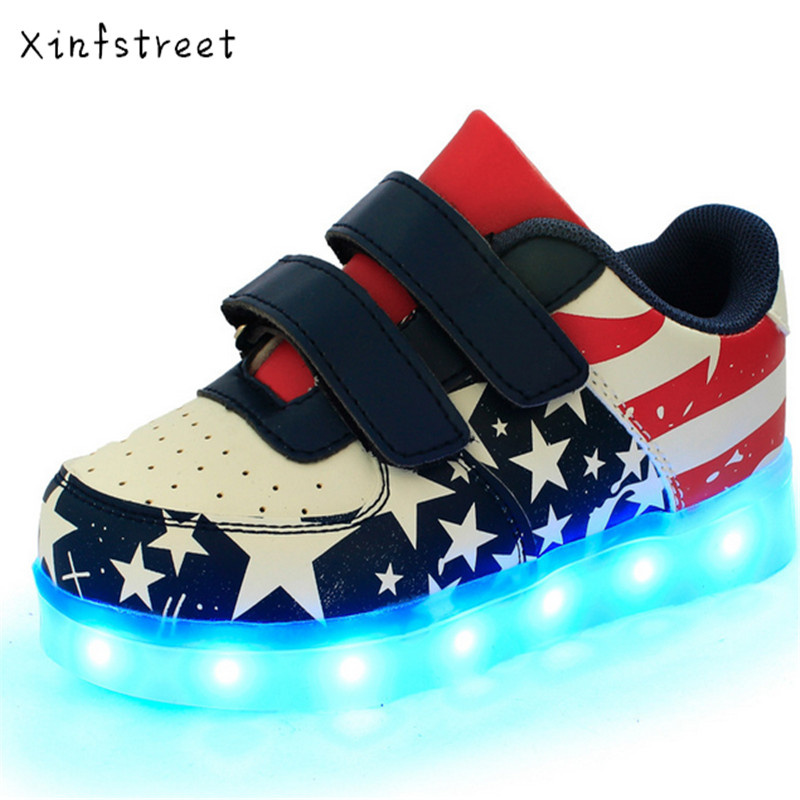 Led Children Shoes 2017 USB Charging Shoes With Light Up Kids Casual Boys Girls Luminous Sneakers Glowing Shoe enfant Size 25-37 bright leather children led kids light shoes for boys girls new fashion luminous sneakers chaussure enfant lumineuse shoes