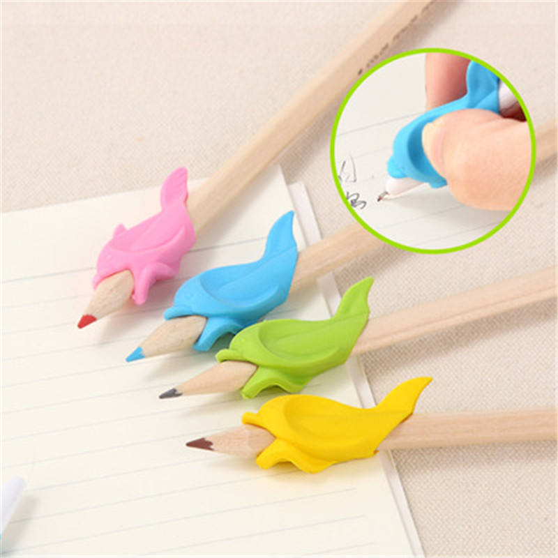 Children 30Pcs Correcting Pen Holder Postures Grip Cute Dolphin Learning Partner Students Stationery Pencil Practise Device Tool