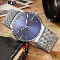 CURREN 2017 New Silver Mesh Design Relogio Masculino Luxury Brand Analog Sports Wristwatch Quartz Business Watch