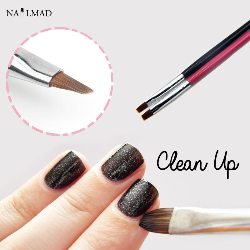 Nail Art Brush Cleaner: 1pc Clean Up Brush Nail Art Flat Brush Cuticle Clean Up