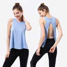 Women Open Back Yoga Tank Top Shirts Sleeveless Off Shoulder Sport Fitness T Shirt Backless Crop Tops Racerback Gym Workout