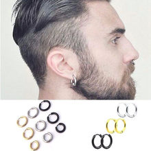 Fashion Women Men Punk Gothic Stainless Steel Simple Round Stud Earrings Lover 3 Colors Size Earring Jewelry