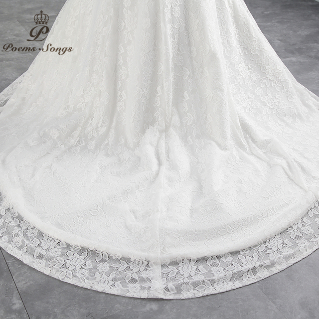 PoemsSongs real photo 2019 new style boat neck beautiful lace wedding dress for wedding Vestido de noiva Mermaid wedding dress 6