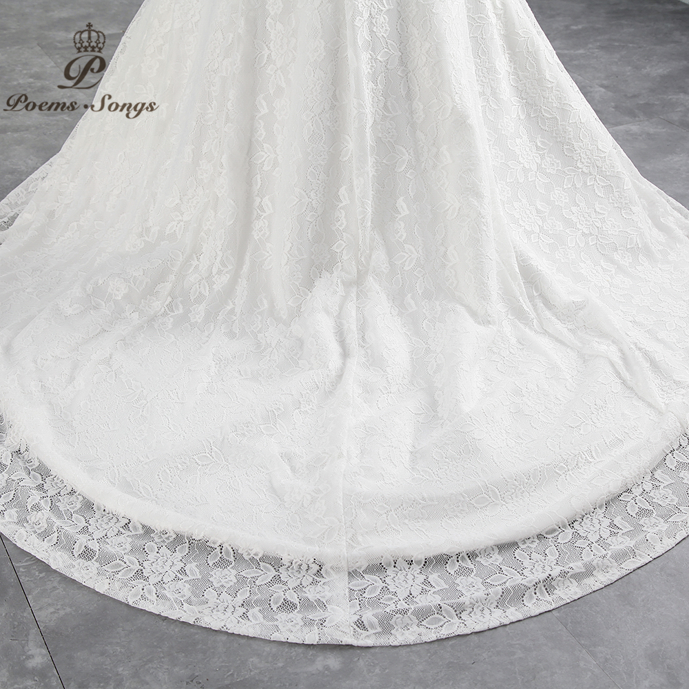 PoemsSongs real photo new style boat neck beautiful lace wedding dress 2020 for wedding Vestido de noiva Mermaid wedding dress
