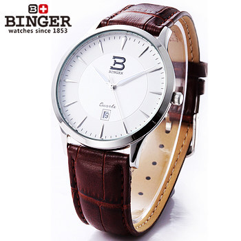 Fashion Luxury Gold Plated Quartz Young Clock Men Dress Watch Wristwatches Hours Women Brown Leather 2017 Trendy  Binger Watches