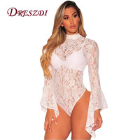 Liva Girl Vintage High Neck Lace Bodysuit Women Long Flared Sleeve Open Back Body Jumpsuit Sexy