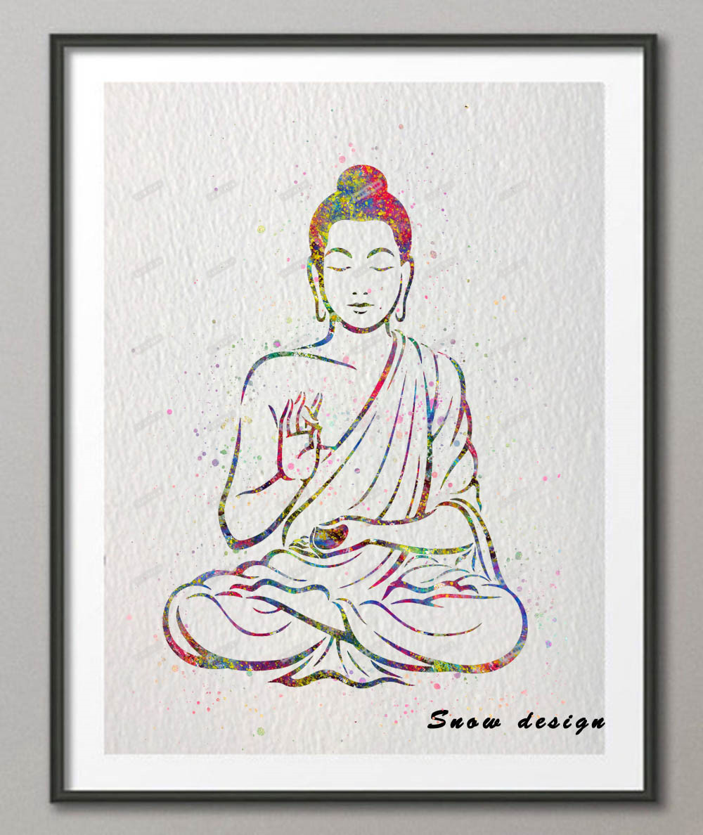 Attractive Diy Original Watercolor Indian Buddha Canvas Painting Om Yoga Wall Artposter Print S Living Room Decoration Wall Painting Diy Original Watercolor Indian Buddha Canvas Painting Om Yoga Wall