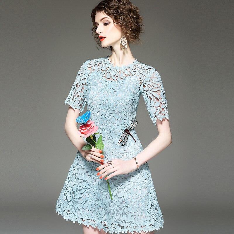 2018 Robe Élégant De Fleurs D'été Bleu Blue Dentelle Soirée Broderie Femmes Robes Tempérament Évider YE9eD2HIW