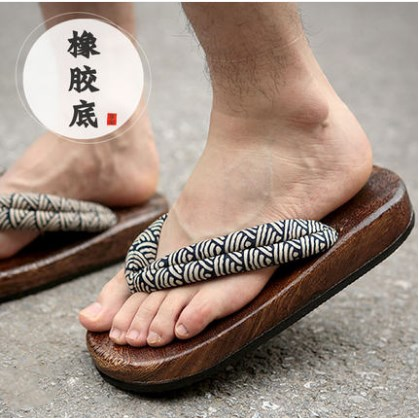 Japanese Clogs Wood Sandals Man clogs flat wood heel square toe shoes summer plank slippers sandals wood sandals flip flops geta japanese samurai clogs wood sandals clogs shoes flat wood heel shoes summer plank slippers sandals