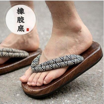 100% QualitäT Japanischen Clogs Holz Sandalen Mann Clogs Flache Ferse Karree Schuhe Sommer Plank Hausschuhe Sandalen