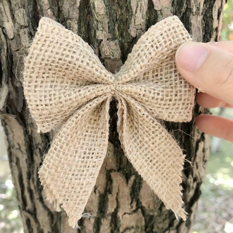 10 шт./лот, DIY банты из мешковины, подарочная корзина, банты из ленты для подарочной упаковки, свадебное украшение для дома