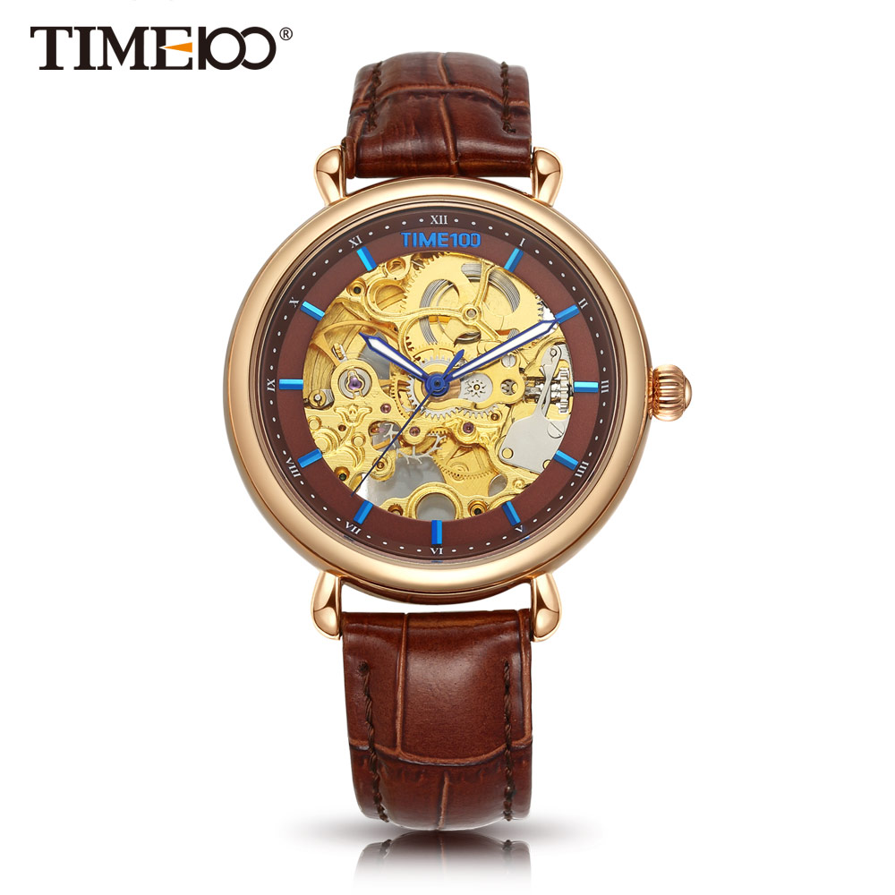 TIME100 Women Mechanical Skeleton Watches Hollow Out Automatic Self-wind Brown Black Genuine Leather Watch women Casual Watches k colouring women ladies automatic self wind watch hollow skeleton mechanical wristwatch for gift box