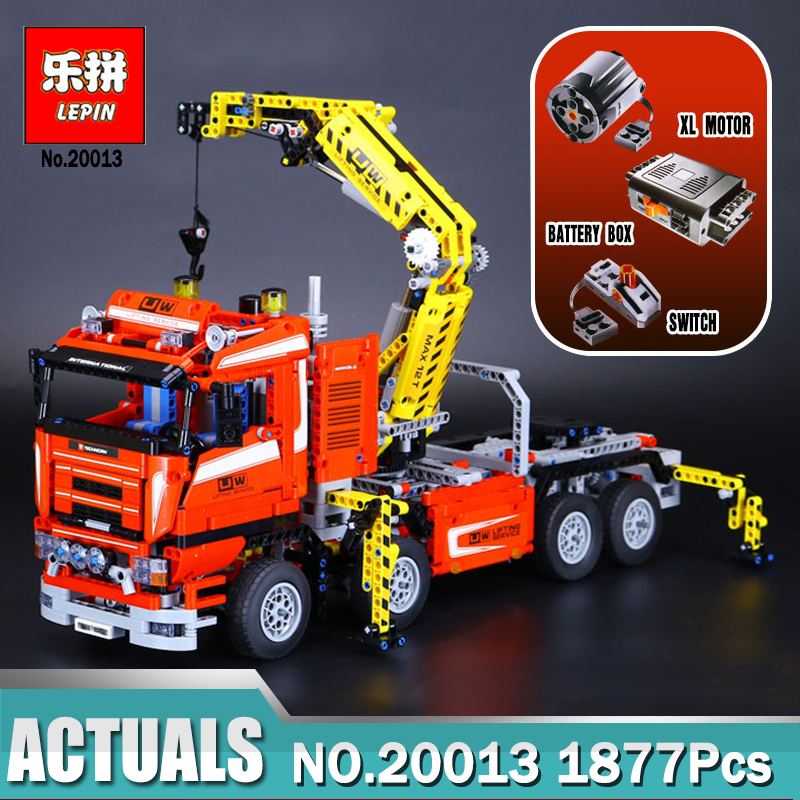 NEW LEPIN 20013 technic series 1877pcs The Electric Crane Truck Model Building blocks Bricks Compatible legoed 8258 new lepin 16009 1151pcs queen anne s revenge pirates of the caribbean building blocks set compatible legoed with 4195 children
