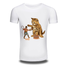 DY-111 Quality Mens White Cat T Shirt 100%cotton Printed Casual Anime T-shirts Funny