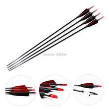 "High Percentage Bueskyting Piler Spine 400 Carbon Arrow Shaf 4 ""Real Feather For Jakt Og Skyting Bow 28/29 / 30Inch 6PK"