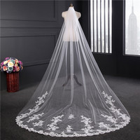 2018 Real picture 3 meters One Tiered Lace Long Elegant Wedding Bridal Veil With Comb Lace Edge Wedding Veils