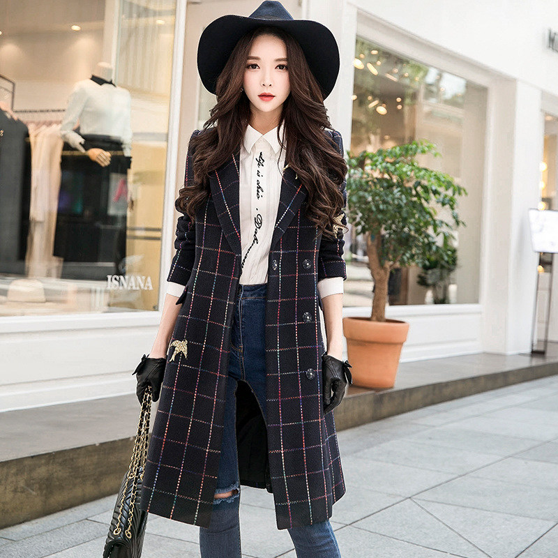 original 2018 brand jacket female autumn winter handsome elegant bird embroidery navy blue plaid woolen coat women wholesale