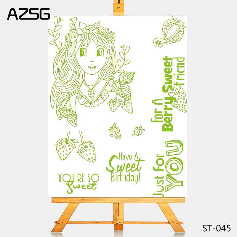 AZSG pretty girl Strawberry Cutting Dies Clear Stamps Seal For DIY Scrapbooking Card Making Album Decorative Crafts in Cutting Dies from Home Garden