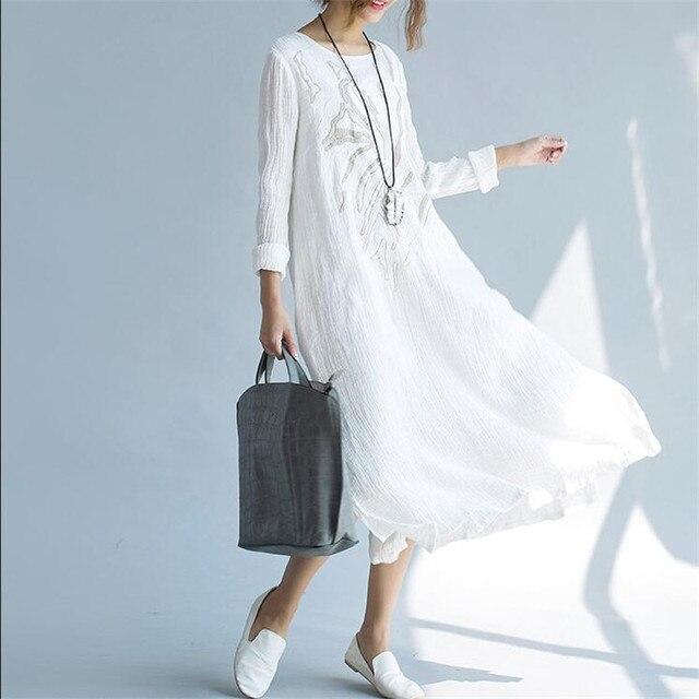 2017 Autumn Women Fashion Prairie Style Cotton Linen Embroidered Long Dress Vintage Vestidos Plus Size