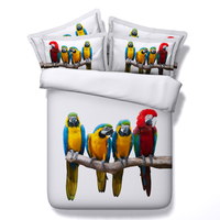 New Style Hot Sale! High grade Luxury Cool Unique 3D Parrot Owl 4Pcs Bedding Sets Full/Twin/Queen/King Size Duvet Cover