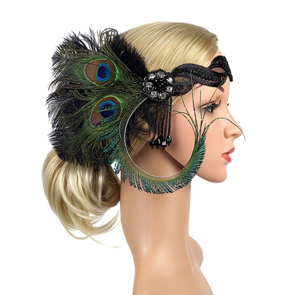 1920 s Vintage Gatsby lentejuelas Rhinestone diademas de plumas partido Flapper gángster cuentas borla Headpiece para las mujeres Headwear