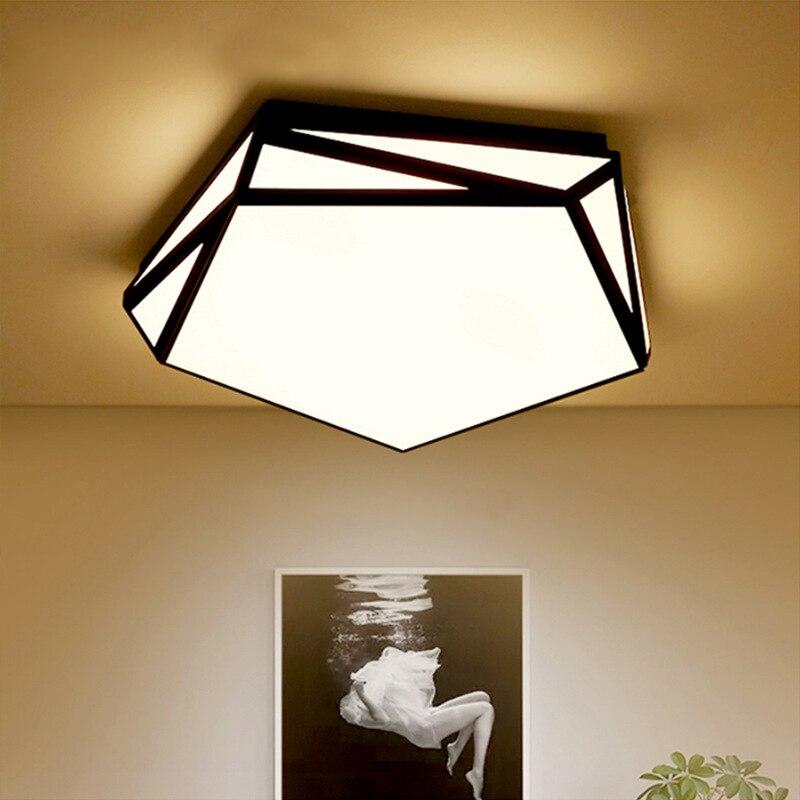 Black Led Ceiling Lamp Modern Lights Irregular Shape