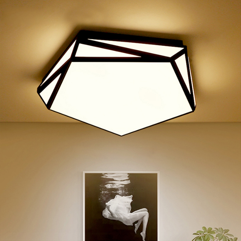 Black Led Ceiling Lamp Modern Lights Irregular Shape Lighting Fixture for Living Room Bedroom Kitchen Restaurant Bathroom Indoor