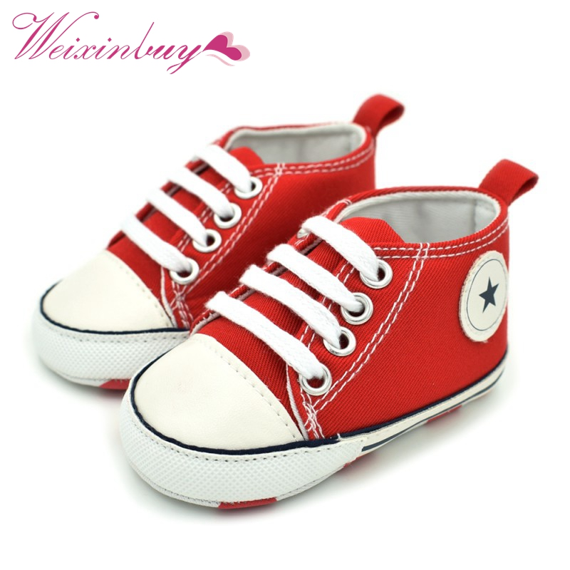 Infant Baby Shoes Tollder Canvas Crib First Walkers Shoes Baby Boys Girls Sneaker Prewalker 0-18M