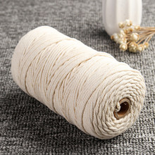 3mm*200m Beige/White Cotton Twisted Cord Rope Crafts Macrame Artisan String DIY Handmade Home Decorative Supplies(China)