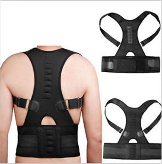 Aofeite unisex ajustable magnética Protecciones para espalda cinturón para  postura hombro corrector columna cinturón plancha e5d375d11b59