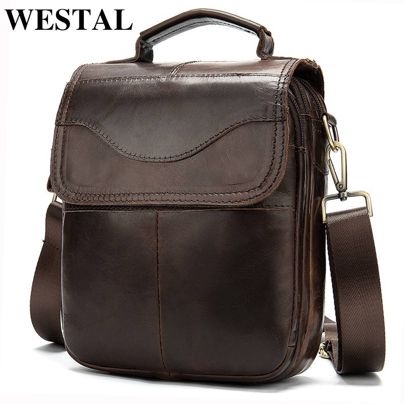WESTAL Men's Genuine Leather/messenger Bag Men's Shoulder Bag For Men Natural Leather Man Flap Small Crossbody Bags Handbag 8558