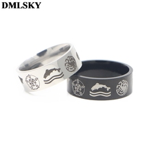 DMLSKY Game of Thrones Punk Rings Jewelry Black Silver Cosplay Ring for Women and Mens Stainless Steel Couple M3595