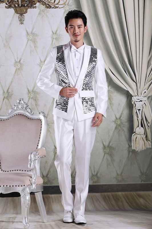 (ジャケット + パンツ) スーツ少年男性黒、白ダンサー歌手ドレスパフォーマンスショーナイトクラブブレザー屋外スリム摩耗新郎ウエディング