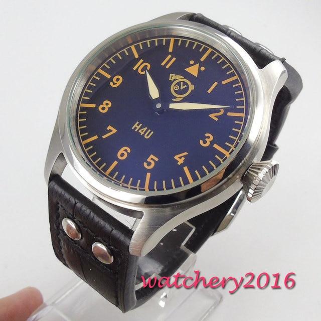47mm corgeut Black Dial Luminous Hands 6497 Hand Winding movement men's Watch