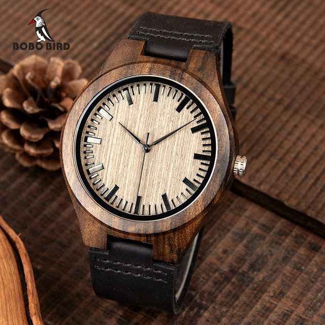 BOBO BIRD Fashion Classic Men Wood Watch Ebony Handmade Quartz Wristwatch Timepiece Best Gift erkek kol saati In Box L F08