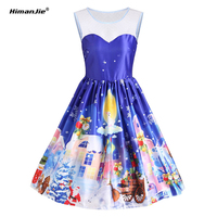 Women New Christmas Pattern Vintage Dresses Sleeveless Floral Print High Waist Party Retro Dress Female Vestidos