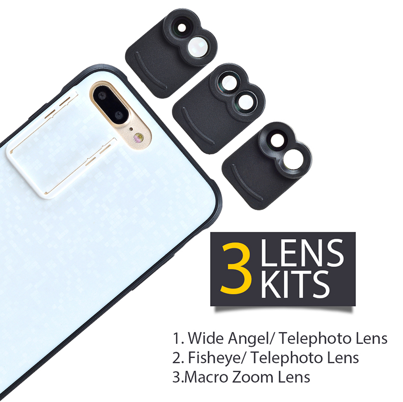 APEXEL 6 in 1 Dual Phone Lens Kit Wide Angle/Zoom/Telescope/Macro/Fisheye Camera Lens with Smartphone Case for iPhone 7 plus 3