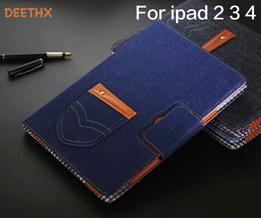 Jeans series Leather Case Protective For Apple iPad 2/3/4 model,DEETHX,Tablet Smart Cover for ipad case 2 3 4 new shell ...