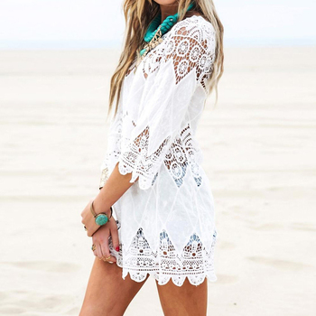 New Summer Swimsuit Lace Hollow Crochet Beach Bikini Cover Up 3/4 Sleeve Women Tops Swimwear Beach Dress White Beach Tunic Shirt 5